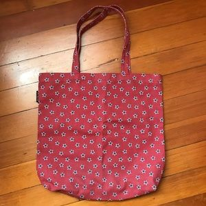 J. Crew red canvas tote with blue stars